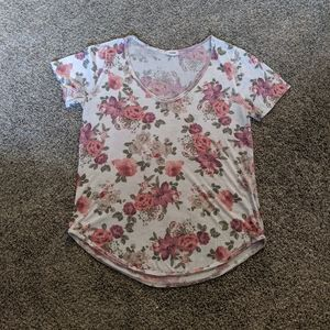 Garage White and Pink Floral T-Shirt Size S/P
